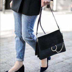 Chloe Faye Suede-Flap Shoulder Bag in Black